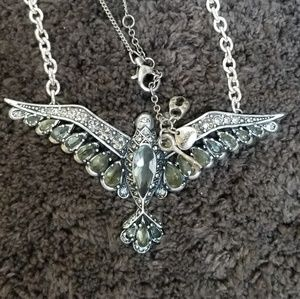 Fossil Phoenix Rising Crystal Bird Necklace